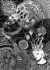 POLINIZAÇÃO CANCERÍGENA (Sofia Mociaro) Tags: blackandwhite abstract black art design artwork arte faces doodle myart dibujo abstrato myartwork desenho masterpiece doodling blackink zeichnung nankin nanquim artnow pontilism abstracion pontilhismo brazilianartist abstracart artistabrasileira