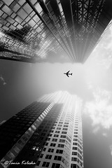 Sky is the L I M I T... (ktania) Tags: trip travel sky blackandwhite bw toronto ontario canada black beautiful fog blackbackground clouds plane canon fly blackwhite aeroplane ontarioplace bwphotography canon400d skyskaper taniaphotography tamron18250f35 taniakoleska