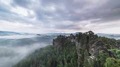 Flowing fog @ honigsteine (derliebewolf) Tags: timelapse nature sunset video landscape stacking mountains clouds fog mist rain goldenhour bluehour sequence rocks flow moving cloudporn thunderstorm