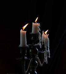 Eerie candles (Laineyb93) Tags: waxart waxworks candles flickeringflame flickr drippingwax spooky candlelight candel candletrio weddingcandles candle wax burntout eerie flame trio candelabra nikon nikond7000 light ghostly wedding nikonworld melting