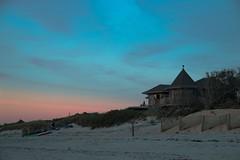 Linger Longer Sunset (SueZinVT) Tags: lingerlongerinn brewsterflats brewster capecod capecodbay canon70d sky sunset sand beachfence roof inn