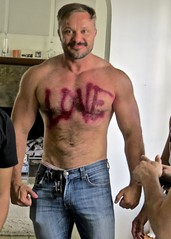 IMG_6702 (danimaniacs) Tags: hot sexy guy man shirtless hunk love beard scruff jeans denim hairy party gay