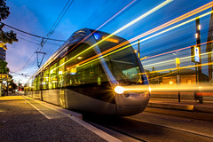 Toulouse T1 6h25 (Jacadit) Tags: tisseo tram tramway lights movement motion transport travel city night longexpo long exposure manfrotto toulouse france yellow cityscape subway sunrise