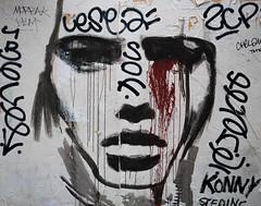 This Konny street art vandalised makes my bearded heart sad... :'( (SamTheBeardedGuy) Tags: konny urbanart paris blood street woman crying art graffiti streetart cry wallpainting urban