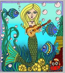UkeMermaid1 (FolsomNatural) Tags: mermaid ukulele coloring adult underwater music
