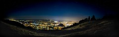 Salzburg (simon zalto) Tags: salzburg sterreich austria europe nacht night dark long exposure panorama lightroom gaisberg mountain berg stadt city light hell dunkel stars sterne himmel sky cloudless trees bume view aussicht gipfel september canon stativ tripod blue dome smog nebel dunst klar