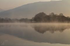Fishing in the mist (GenerationX) Tags: sun mist castle water sunrise reflections landscape dawn mirror scotland fishing warm unitedkingdom argyll scottish neil calm wading barr macarthur lochawe lochobha angler kilchurn clancampbell