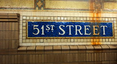 51 st Street @ NYC subway (nlkjasdf) Tags: street new york old city nyc newyorkcity light urban ny public station underground subway landscape metro manhattan trains historic midtown transportation cave subterranean democratic collective 51st subterranian 51ststreet