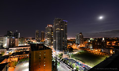Beltline East (Witty nickname) Tags: city longexposure summer moon calgary rooftop skyline night apartments wideangle condo moonrise nights condos nikkor beltline yyc calgaryskyline nikkor1424mmf28 nikond800 beltlineskyline