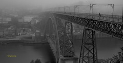 Luís I Bridge Porto Portugal (Terry Kearney) Tags: bridge trees sky people urban blackandwhite streets building heritage history portugal nature water monochrome weather birds fog skyline architecture port docks canon buildings reflections river landscape boats outdoors daylight flickr gothic may culture cathedrals structure unesco explore porto douro infrastructure baroque romanesque kearney braga churchs guimarães portugese 2015 portwine portoportugal guimarãesportugal riberia bragaportugal buildingstructure riverdouro oneterry riverdouroporto terrykearney may2015 sédoportoportugal luísibridgeportoportugal portugal2015