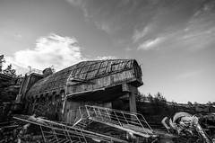 modern ruin (Mange J) Tags: blue chimney sky abandoned industry stairs concrete junk stair factory pentax sweden streetlights wide clear leftovers frame sverige wreck antenna olddays vrmland wideangel 10mm sigma1020 showel pentaxart magnusjakobsson k5ii