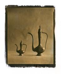 2 Indian teapots (Alexander Tkachev) Tags: bw stilllife film 8x10 hp5 largeformat gumbichromate alternativephotography altprocess deardorff contactprinting handcoating palladiumprint alexandertkachev