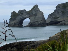 Sculptured Rock (kane.hartill) Tags: park new family camping sea camp holiday beach beauty landscape island photography islands landscapes fishing sand paradise arch south scenic arches surfing zealand national retreat shore nz 100 archway pure aotearoa wharariki
