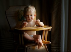 Afternoon Snack (Sonya Adcock Photography) Tags: baby painterly window vintage photography kid nikon infant child eating expression fineart diaper story snack barefoot curtains barefeet highchair nikkor cheerios chiaroscuro windowlight childphotography nikond700 nikkor105mmdc