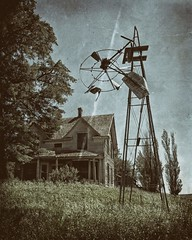 Homestead (www.streetmonkey.org) Tags: old house abandoned windmill architecture rural washington homestead palouse wetplatefilter