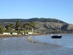 Boatsheds at Charteris Bay (Kevin Fenaughty) Tags: outdoor seaside boat boatshed yacht tree hill ripples bay charteris holiday charterisbay canterbury newzealand canterburynz