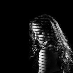 Blindsided (Anna Gorin) Tags: light shadow portrait blackandwhite woman girl self canon studio sad sigma blinds somber 70200mm speedlite 5diii
