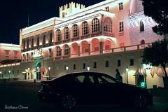 Monaco. (Svitlana Clover) Tags: canoneos550d vacation journey palace monaco car night illumination pink yellow architecture building black blue sky window lanterns