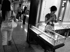sales girl in a gift shop (-{ ThusOriginal }-) Tags: bw blackandwhite china city digital grd3 grdiii jewelryshop mall monochrome nanjing people ricoh saleswoman shop shopping summer thusihaveseen wait thusoriginal