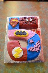 Mel made a DC Superheroes cake for the Mothers Group 5 year olds (avlxyz) Tags: fb4 cake homemade spiderman superman batman wonderwoman theflash superhero oneoftheseisnotliketheothers dccomics marvelcomics justiceleague justiceleagueofamerica