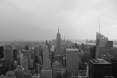 Empire State Building and Manhattan (mattpacker1978) Tags: one worldtrade empirestate rockefeller skyscraper view usa love life freedom cityscape skyline nyc rock manhattan black white bw empire state city buildings sepia canon canon700d canondigital america