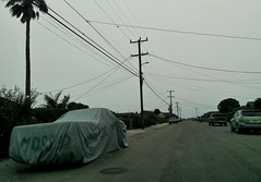 plain sight, Pieri Court, Moss Landing, July 30, 2016 (/\/\ichael Patric|{) Tags: shrouded covered cloaked enshrouded underwraps car parked parking vehicle street neighborhood pavement cloth mosslanding mosslandingcalifornia montereycounty montereycountycalifornia montereybayarea centralcoast california westcoast michaelpatrick july2016 july 2016 geotagged geo:lat=367915 geo:lon=1217854