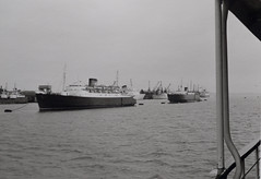 On our way to Hook of Holland again, leaving behind a busy Stour and Parkeston quay . . (Eduard van Bergen) Tags: harwich bay harbor harbour sea zee meer england ships boats boating passengers canal ermel captain master crew hull british angleterre dovercourt stour river parkeston command english northsea officer dfds blackandwhite monochrome winston churchill roro 1968 united kingdom esbjerg denmark scandinavian seaways tyne dana anglia boat vehicle outdoor ship beatrix stafford amsterdam rail prinses mid barrow seven stones pinmill key essex avalon ferry smz holland uk