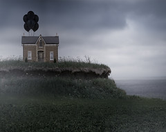 Welcome Home (Patty Maher) Tags: house hill digitalmanipulation photoshop conceptual balloons blackballoons welcomehome