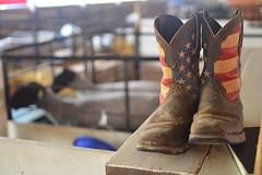 boots (brown_theo) Tags: hartford fair cowboy boots american flag sheep barn ohio licking county