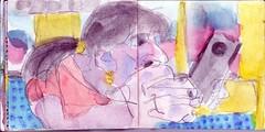 er hatte geschrieben. Wie durch Magie hielt sie sein Bild in der Hand (raumoberbayern) Tags: sketchbook skizzenbuch tram munich mnchen bus strasenbahn herbst winter fall pencil bleistift paper papier robbbilder stadt city landschaft landscape
