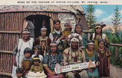 """UP St Ignace Pt. Aux Chene MI 1930s FAMILY WITH CHIEF HOLDING SIGN Native American 1st People at Totem Village Indian Heritage Museum and Travel and Tourism ROADSIDE Attraction1 (UpNorth Memories - Donald (Don) Harrison) Tags: """" """"railroad ferry"""" """"car excursion vintage antique postcard rppc """"don harrison"""" """"upnorth memories"""" upnorth memories upnorthmemories michigan history heritage travel tourism """"michigan roadside restaurants cafes motels hotels """"tourist stops"""" """"travel trailer parks"""" campgrounds cottages cabins """"roadside entertainment"""" """"natural wonders"""" attractions usa puremichigan"""