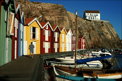 A classic view of Smgen (*Kicki*) Tags: smgen vstkusten bohusln sweden jetty boats quay summer man person house houses 50mm port harbour colourful rock