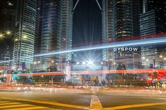 Vroom. (ybpow1) Tags: klcc petronas petronastwintowers malaysia longexposure lighttrails lightpainting