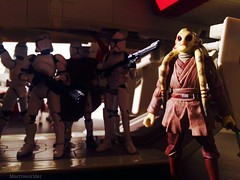 Kit Fisto & clones prepare to embark on mission (Macroworlder) Tags: starwars hasbro disney clonewars clones clone trooper republic gunship starfighter kitfisto jedi