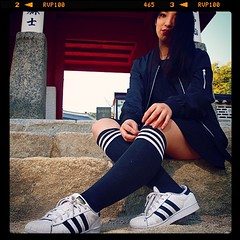 Yoanna rocks the Adidas stripes, and I'm feeling the visual rhyme. (feetmanseoul) Tags: square nashville squareformat iphoneography instagramapp uploaded:by=instagram