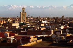 Marrakech and Atlas mountains (jaypchances) Tags: africa city travel mountain mountains reisen cityscape rooftops minaret exotic morocco atlas marrakech reizen reisfoto