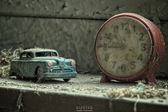 catch a ride at 10:45 (Szydlak Szk) Tags: old blue red urban house dusty abandoned clock car childhood rural toy rust sad time decay dom rusty poland polska eerie spooky nostalgia nostalgic dust orte exploration derelict urbex prl samochd szk zabawka sadworld rurex verlassene abandonato opuszczony szydlak