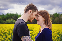 Mr And Mrs Hedley (Zoe leanne Photography) Tags: family trees people love nature smile field yellow tattoo clouds forest beard nikon married mr bright marriage sunny romance laugh mrs rapeseed hedley d7000 nikond7000