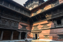 Detail of the wooden structures of the Basantapur Tower