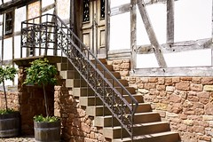 Steps to a new door (ankur_bhattacharya) Tags: door brown house green window stairs balcony steps lobby entrace