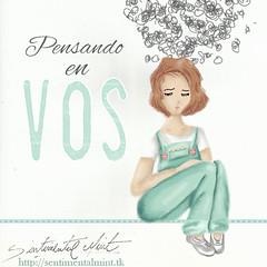 Pensando en vos (SentimentalMint) Tags: chica pareja amor soledad dibujo ilustracion cotidianidad abandono pensando