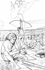 Mesolithic camp site (Wessex Archaeology) Tags: family camp archaeology illustration hunting bow arrow archaeological visualisation reconstruction mesolithic