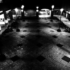 Points of Separation (lesliegill) Tags: 2016 bw dark iphone iphoneography japan july night openspace outdoors street summer urbanexploration