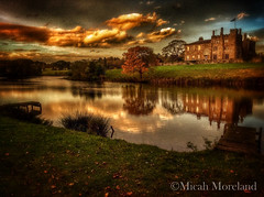 Ripley Castle (micahmoreland) Tags: old uk family autumn sunset england lake reflection castle fall water stone medieval ripley british boar hdr northyorkshire goldenhour ipad