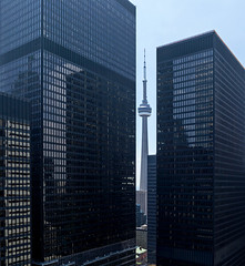 20160716. Sneaking a peek at Toronto's CN Tower through Mies van der Rohe's TD Centre. (Vik Pahwa Photography) Tags: vikpahwaphotography vikpahwacom toronto downtowntoronto financialdistrict architecture internationalstyle tdcentre torontodominioncentre miesvanderrohe mies skyscraper officetower aerial cadillacfairview cntower cityscape