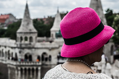 The Pink Hat (mikebakker2) Tags: budapest        magyarorszg hungary ungarn ungheria hungra        europe europa      city detail details colour colours colourful color colors colorful architecture people human humans hat halaszbastya woman female pink black white closeup day travel traveler traveling cute urban urbanexploration exploration exploring world journey