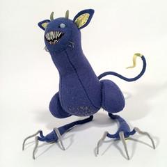 left (MelissaSueArt) Tags: plush handmade tootsiemonster horror embroidery monster creature purple amethyst designertoy arttoy fauxtaxidermy stuffed stitched teeth claws nightmare softie
