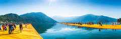 Piers connexion (Nicola Pezzoli) Tags: travel blue summer italy panorama lake art tourism water colors sunshine yellow sunrise canon reflections landscape piers floating panoramic monte bergamo brescia lombardia isola iseo sulzano
