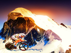 Lost In A Mountain Time Trial (Dedicated To Tom Du Moulin) (Alfred Grupstra Photography) Tags: sun snow mountains bike race