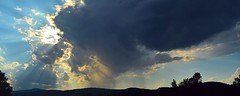 2016_0722Beaming-Down-Pano0001 (maineman152 (Lou)) Tags: sun sunrays crepuscular crepuscularrays cloud clouds cloudysky sky skydrama skycolor skycolors skyscene skyscape skyview storm storms stormclouds nature naturephoto naturephotography landscape landscapephoto landscapephotography summersky summer july maine